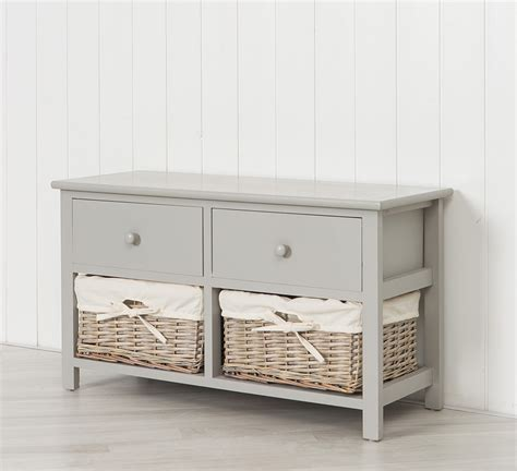 bench storage unit shabby chic 3 drawer wicker storage unit bench