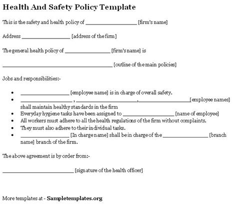 health and safety policy template health and safety policy format of health and safety