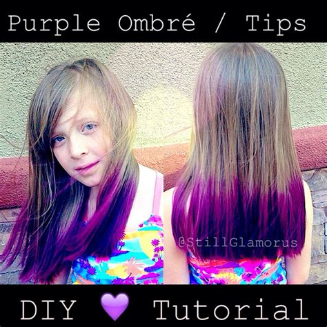 11 years old that has highlights at the bottom of their hair purple ombre tips diy tutorial youtube