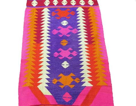 Neon Pink Rug by Handwoven Turkish Kilim Rug In Bright Neon Colors