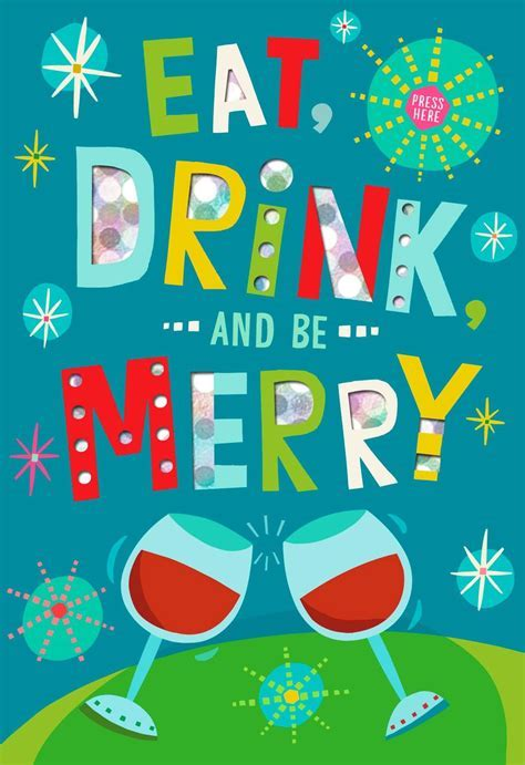Eat Drink and Be Merry Musical Christmas Card   Greeting
