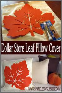 Simple Thanksgiving Table Decorations Dollar Store Leaf Pillow Cover Sparkles Of Sunshine