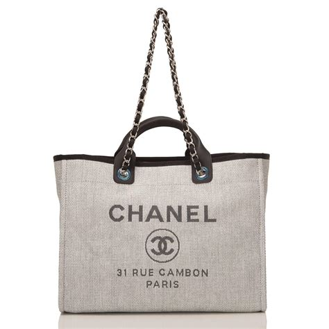 chanel grey canvas large deauville shopping bag at 1stdibs