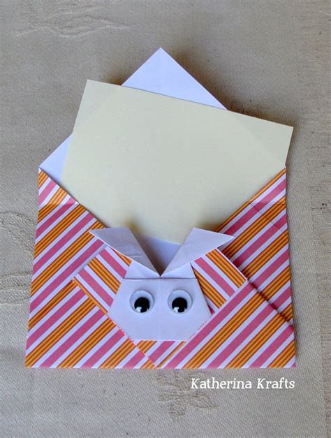 Origami Mini Envelope - origami envelope with a bunny rabbit folded right
