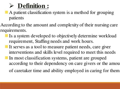 define systemize patient classification system staffing