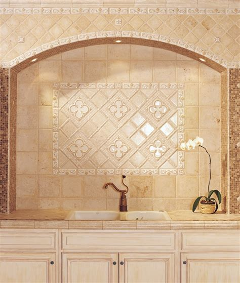 beige decorative backsplash kitchen sink rustic