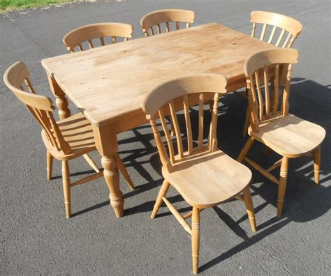 sold style pine kitchen table six chairs