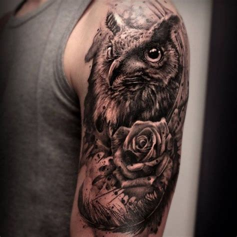 owl with roses tattoo owl zoeken uil animal
