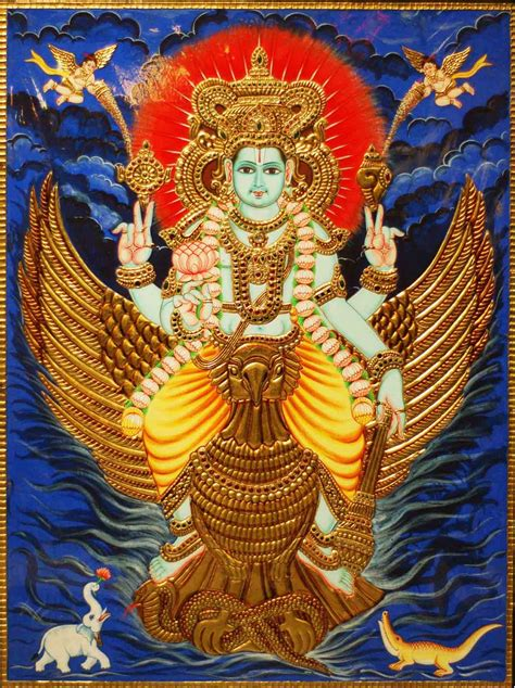 Garuda Painting by Buy Lord Vishnu On Garuda Handmade Tanjore Painting Madhurya
