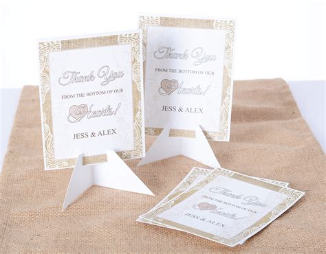 Burlap And Lace Thank You Cards burlap lace wedding thank you cards labelsrus