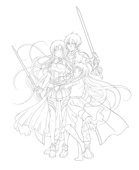 lineart sword art online by rurutia8 on deviantart