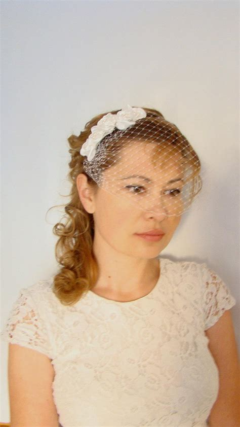 Wedding Hair For Birdcage Veil by Ivory Veil Ivory Birdcage Veil Headband Mini Birdcage Veil