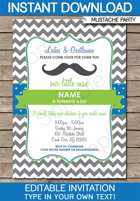 Mustache Party Invitations Little Man Party Birthday Party Birthday Invitation Editable Templates