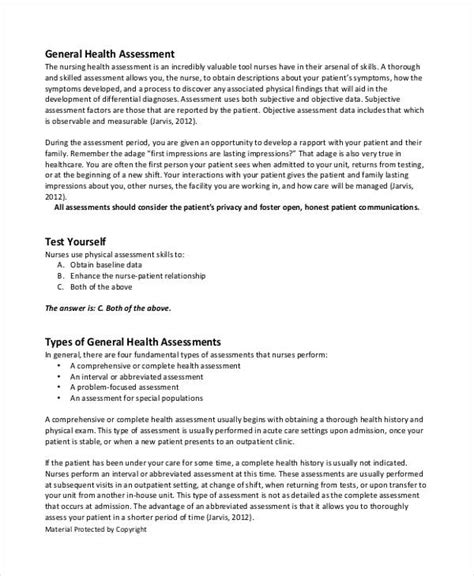 comprehensive health history template 45 sle health assessment form