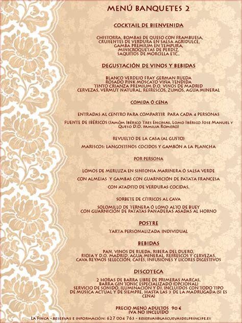 menu de banquetes para boda tu boda en la finca de las cuevas principe de