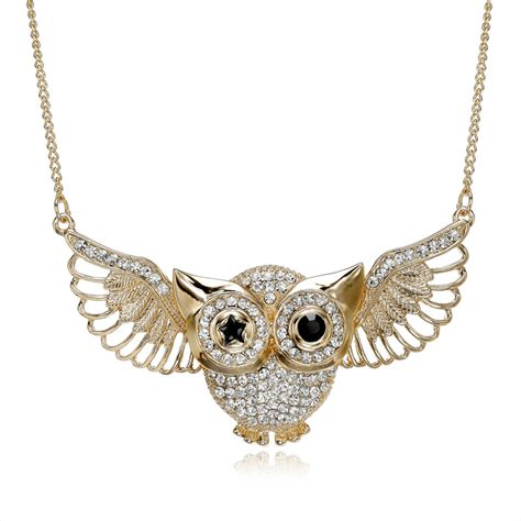 rhinestone pendants jewelry flying owl pendant necklaces rhinestone owl necklace gold