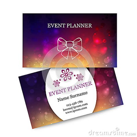 magic card template vector template colorful business cards for event planner stock