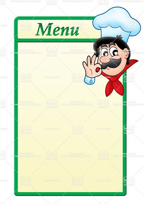 Stock Image Menu Template With Cartoon Chef Jpg 1 061 215 1 500 Pixels Food Truck Trends Menu Template