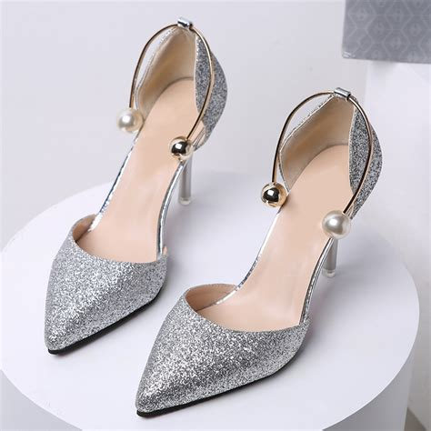 black silver high heels 2017 autumn pumps black gold silver high