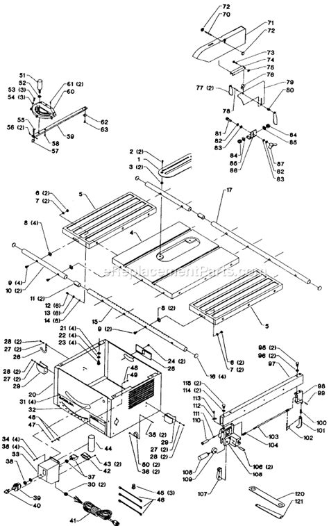 delta bench saw parts delta 36 380 parts list and diagram type 1
