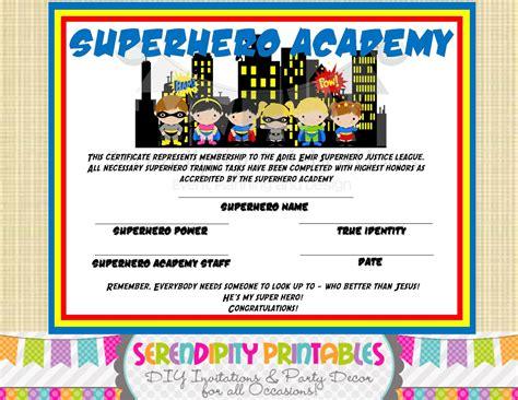 superhero kids collection superhero certificate digital file