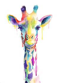 colorful giraffe watercolor print animals by