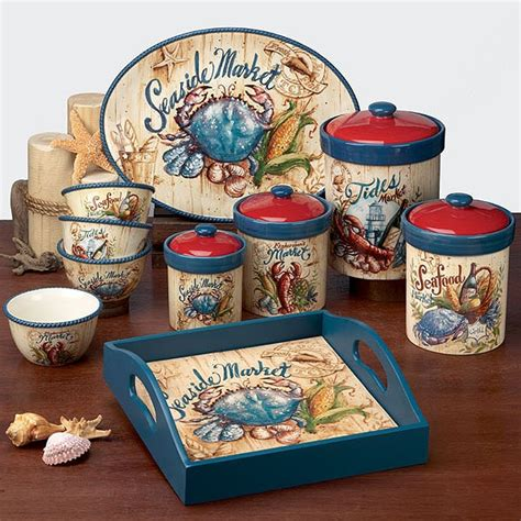 beach themed kitchen canisters seaside market canister set 4 pieces 24 48 72 136 oz