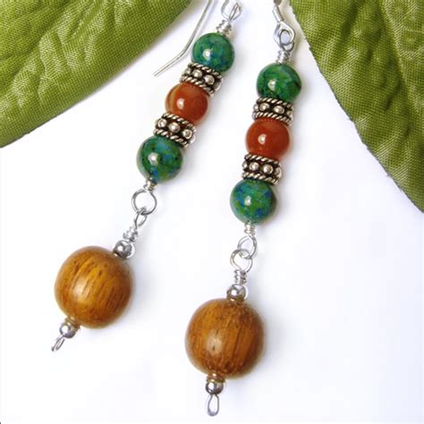 Handmade Jewelry Earrings - dangles jasper agate wood sterling silver handmade