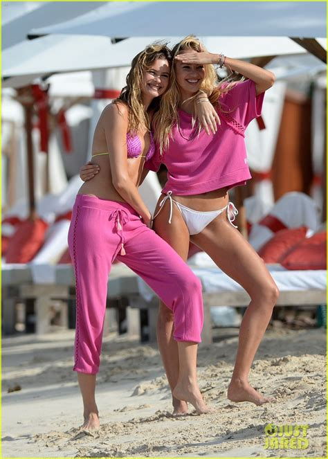 candice swanepoel and behati prinsloo pose for victorias behati prinsloo candice swanepoel do the sexiest photo