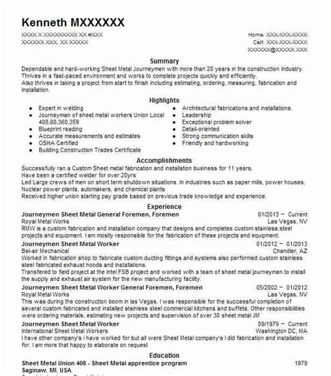 Sheet Metal Mechanic Sle Resume by Best Birthday Host Resume Exle 28 Images Resume Sle For Restaurant Crew 28 Images Crew