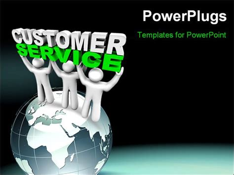 customer service powerpoint templates three customer service representatives lift the words