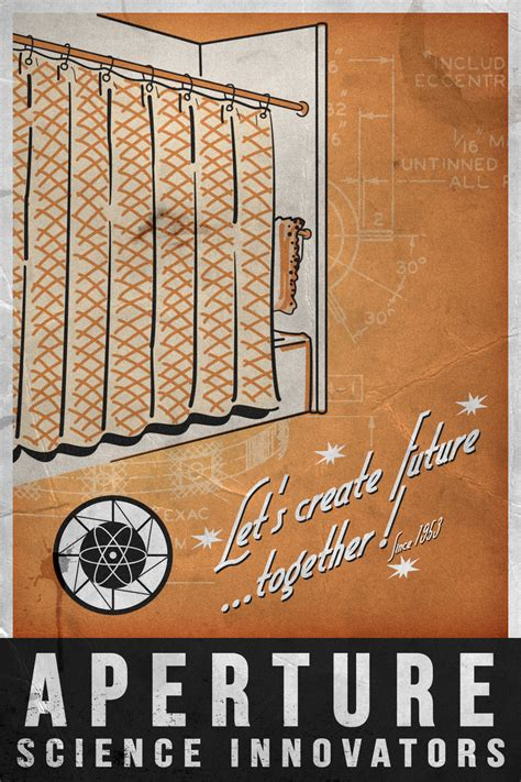 aperture science shower curtain aperture science 1953 poster by dj corny on deviantart