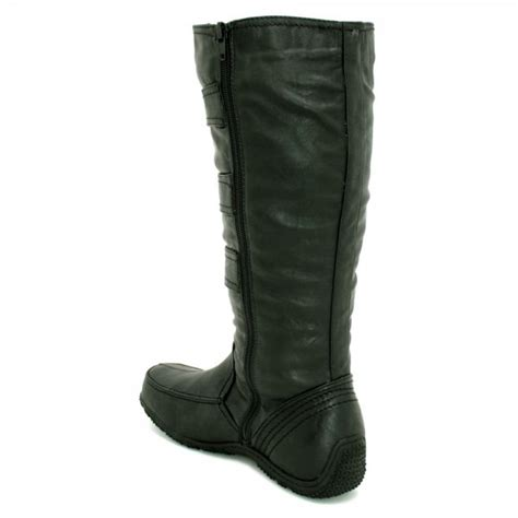 womens black wide calf toggle knee high flat boots from