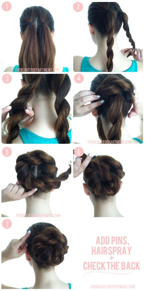 put your hair in a bun with braids wonderful diy twist double rope bun hairstyle
