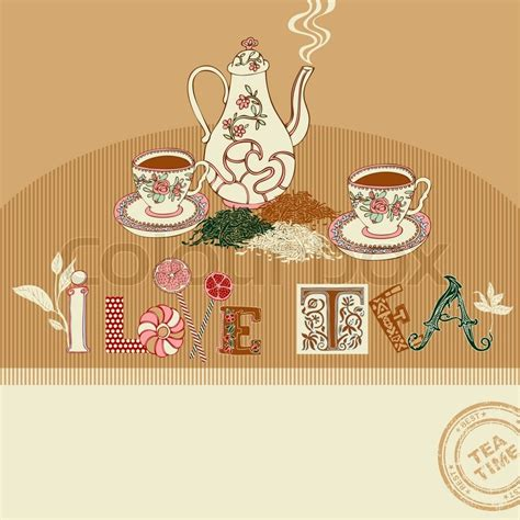 Colorful Creative Cup Lemon vintage tea time greeting card on abstract background