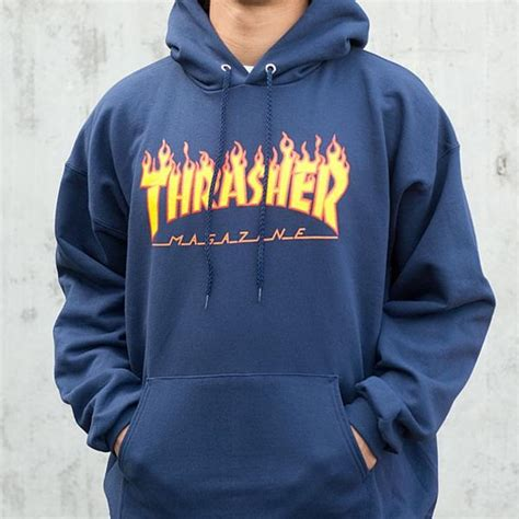 Hoodie Zipper Thrasher Magazine Navy thrasher coat of arms