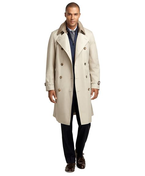 brothers breasted khaki trench in for lyst