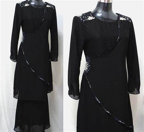 Baju Kurung Hijau Hitam kurung moden chiffon koleksi baju raya aidilfitri 2012