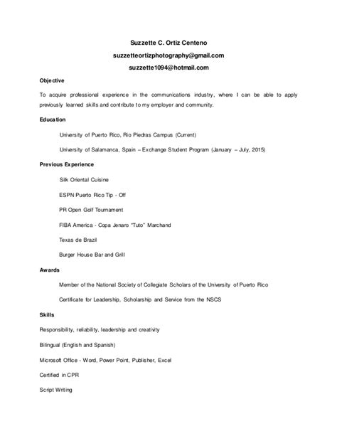 resume en ingles linked in enero 2016 resume actualizado ingles suzzette