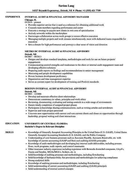 advisory report template audit financial advisory resume sles