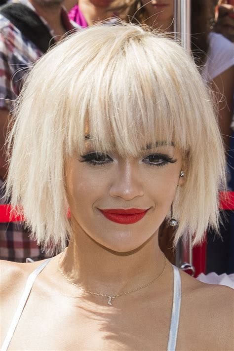 rita ora choppy hairstyles rita ora straight platinum blonde bob choppy bangs