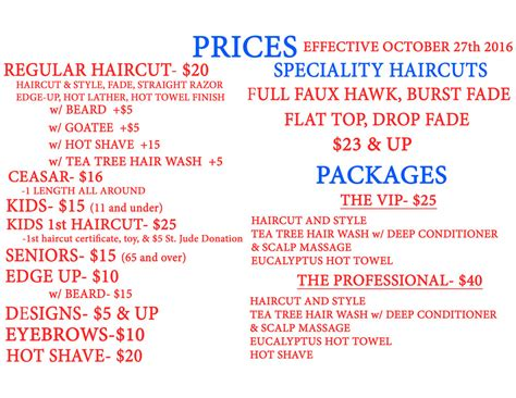 haircut price list in the cut price list in the cut barbershop the trends