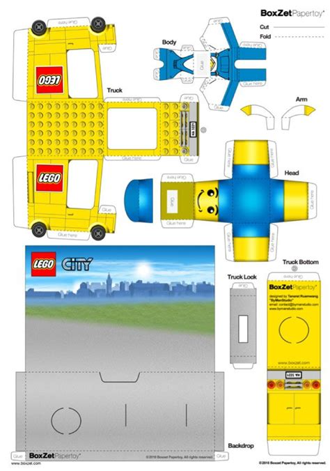 Lego Papercraft - papertoy lego truck de boxzet toys studios and boxes