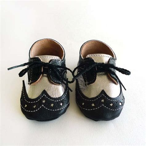 baby dress shoes baby boy or shoes black and silver leather soft sole