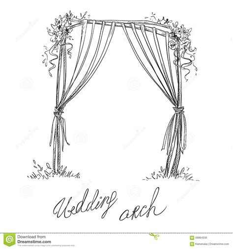 Wedding Arch Drawing by Wedding Arch Decoration Vector Sketch Stock Vector