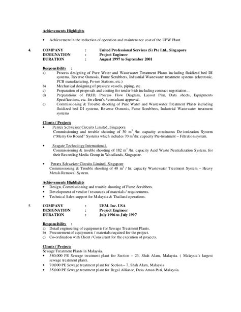 Treatment Resume Sewage Treatment Worker Resume