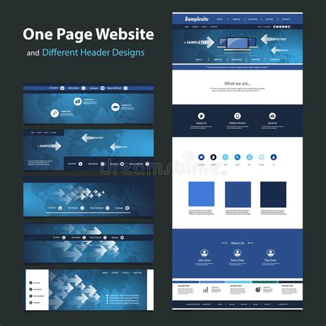 different layout in web design one page website design template and different headers
