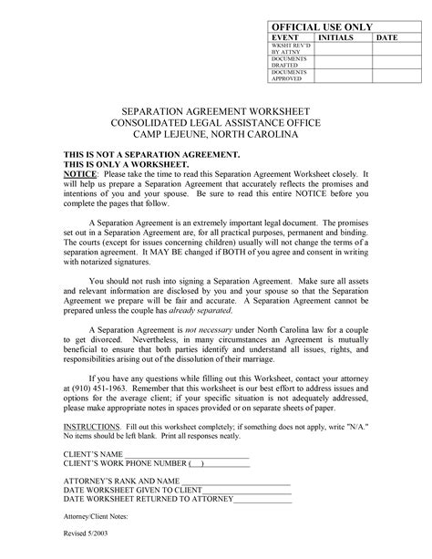 Agreement Letter For Separation separation agreement template