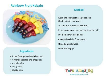 Free Printable Easy Recipes | rainbow fruit skewers eats amazing