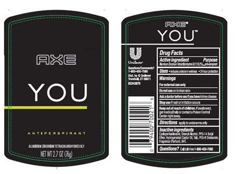 Parfum Axe You axe you antiperspirant stick conopco inc d b a unilever